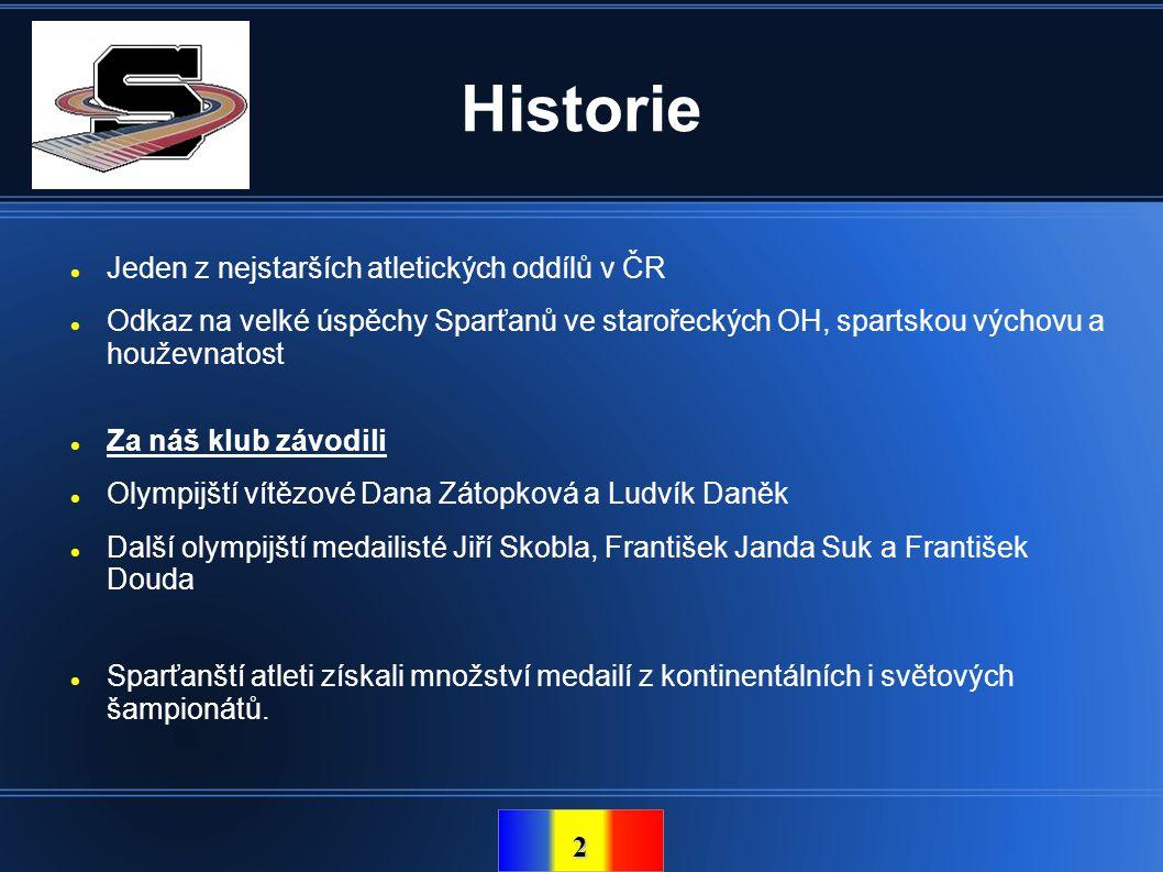 2 Historie  Jeden z nejstarších atletických oddílů v ČR  Odkaz na velké úspěchy Sparťanů ve starořeckých OH, spartskou výchovu a houževnatost  Za n