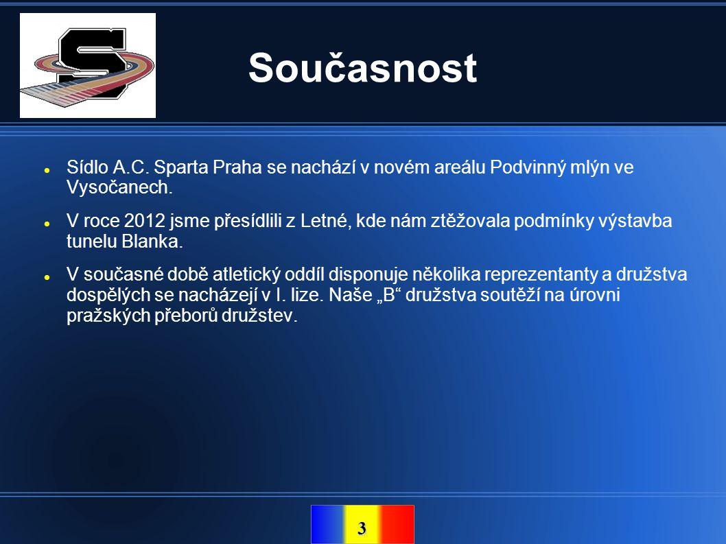 3 Současnost  Sídlo A.C. Sparta Praha se nachází v novém areálu Podvinný mlýn ve Vysočanech.  V roce 2012 jsme přesídlili z Letné, kde nám ztěžovala