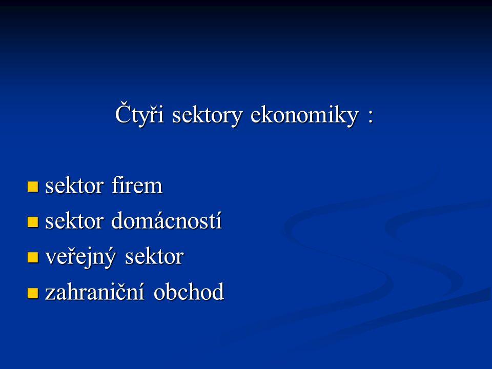 Čtyři sektory ekonomiky :  sektor firem  sektor domácností  veřejný sektor  zahraniční obchod