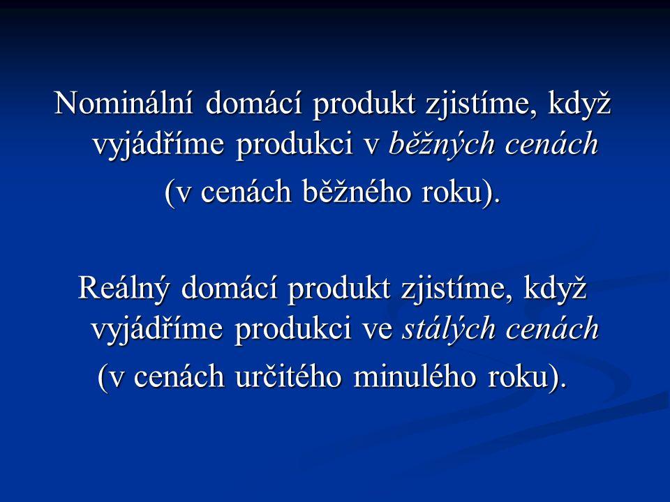 Nominální domácí produkt zjistíme, když vyjádříme produkci v běžných cenách (v cenách běžného roku).