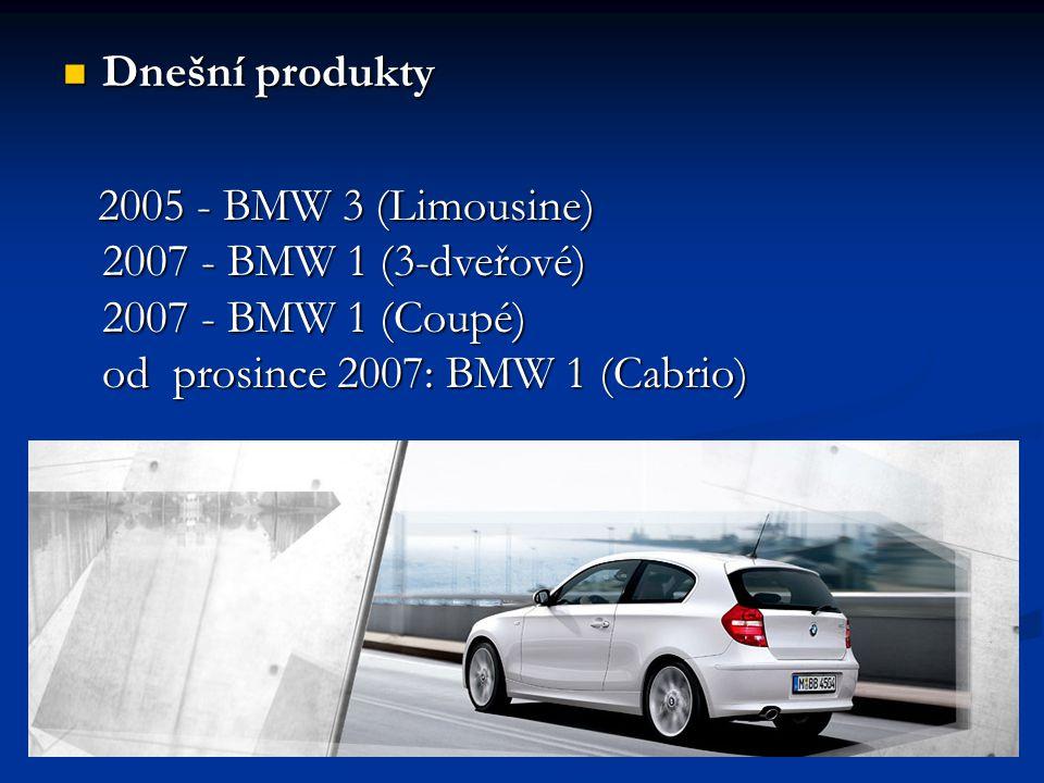  Dnešní produkty 2005 - BMW 3 (Limousine) 2007 - BMW 1 (3-dveřové) 2007 - BMW 1 (Coupé) od prosince 2007: BMW 1 (Cabrio) 2005 - BMW 3 (Limousine) 200