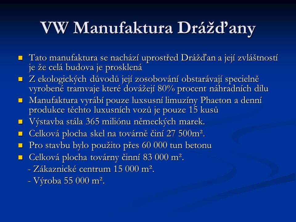 VW Manufaktura Drážďany  Tato manufaktura se nachází uprostřed Drážďan a její zvláštností je že celá budova je prosklená  Z ekologických důvodů její