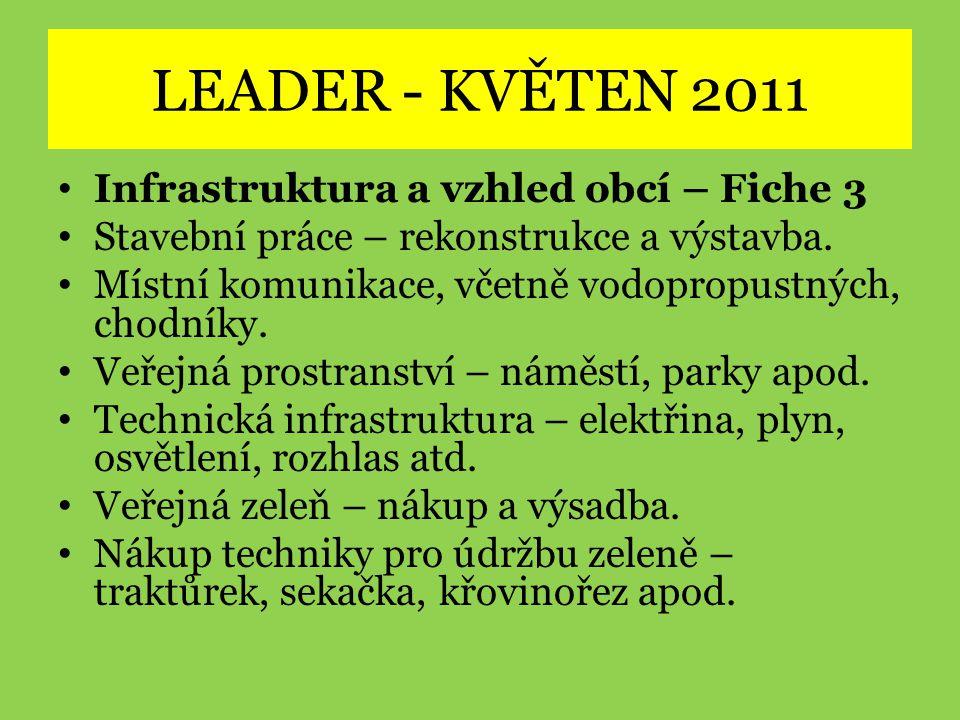 LEADER - KVĚTEN 2011 • Infrastruktura a vzhled obcí – Fiche 3 • Stavební práce – rekonstrukce a výstavba. • Místní komunikace, včetně vodopropustných,