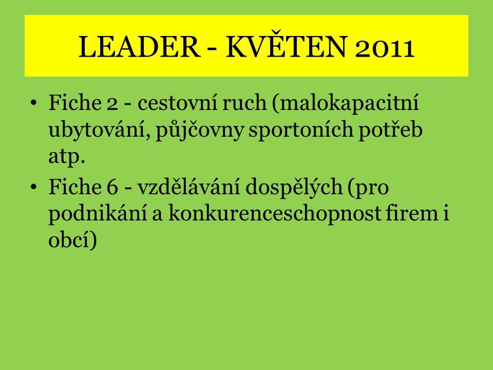 LEADER - KVĚTEN 2011 • Fiche 2 - cestovní ruch (malokapacitní ubytování, půjčovny sportoních potřeb atp. • Fiche 6 - vzdělávání dospělých (pro podniká