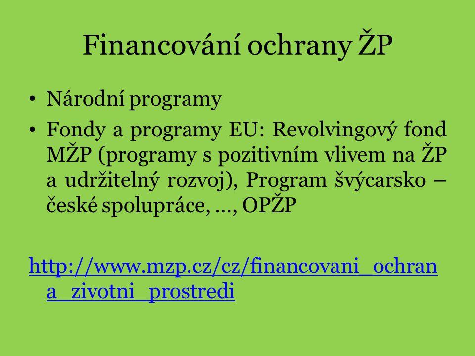 Financování ochrany ŽP • Národní programy • Fondy a programy EU: Revolvingový fond MŽP (programy s pozitivním vlivem na ŽP a udržitelný rozvoj), Progr