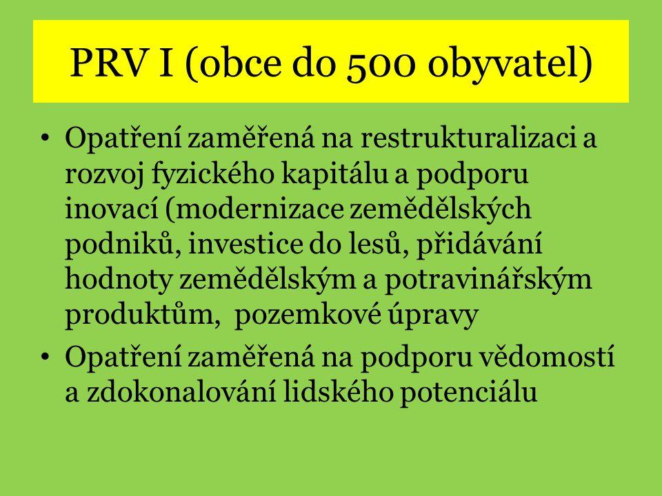 PRV I (obce do 500 obyvatel) • Opatření zaměřená na restrukturalizaci a rozvoj fyzického kapitálu a podporu inovací (modernizace zemědělských podniků,