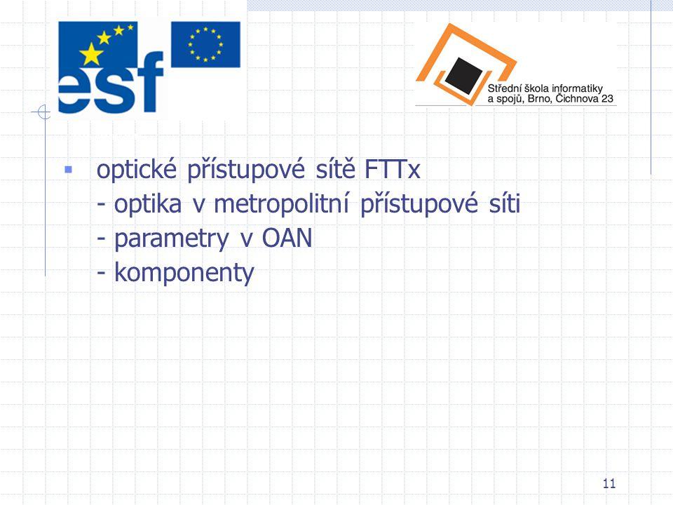 12  měření optických parametrů v optických sítích - kontinuita - měření útlumu - měření pomocí OTDR - vyhodnocení naměřených hodnot - zpráva Obsah učebního textu
