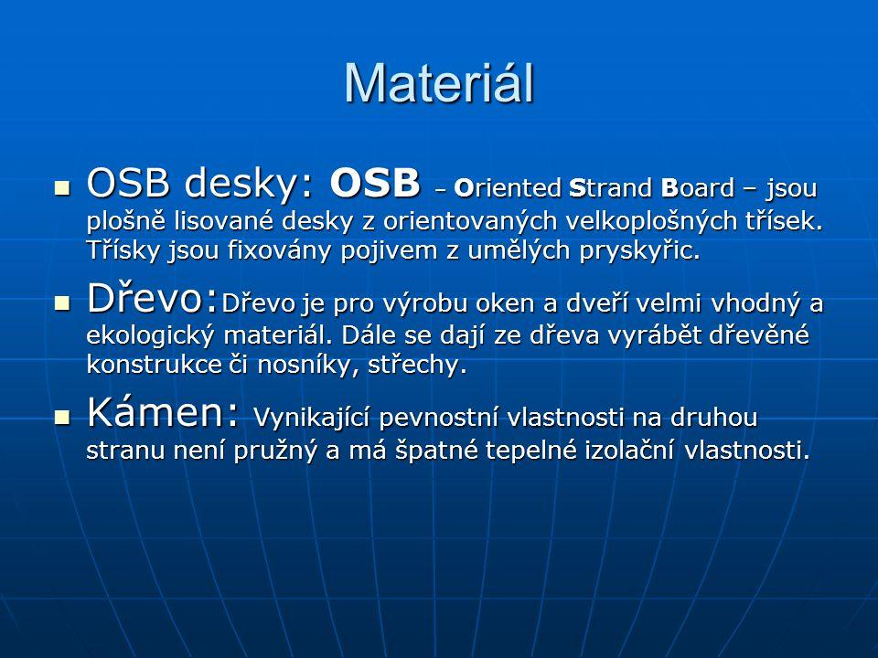 Materiál  OSB desky: OSB – Oriented Strand Board – jsou plošně lisované desky z orientovaných velkoplošných třísek. Třísky jsou fixovány pojivem z um