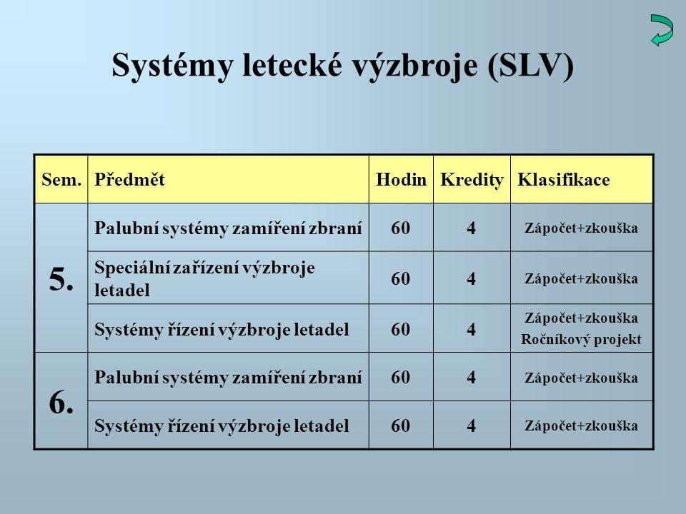 Systémy letecké výzbroje (SLV) Sem.PředmětHodinKredityKlasifikace 5. Palubní systémy zamíření zbraní604 Zápočet+zkouška Speciální zařízení výzbroje le