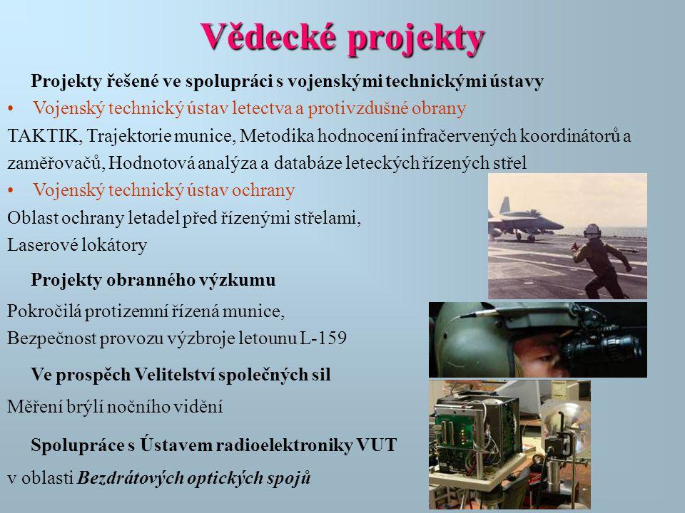 Projekty řešené ve spolupráci s vojenskými technickými ústavy •Vojenský technický ústav letectva a protivzdušné obrany TAKTIK, Trajektorie munice, Met