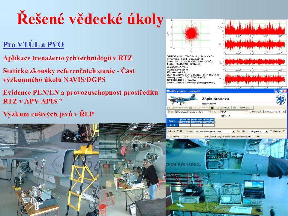 Řešené vědecké úkoly Pro VTÚL a PVO Aplikace trenažerových technologií v RTZ Statické zkoušky referenčních stanic - Část výzkumného úkolu NAVIS/DGPS E