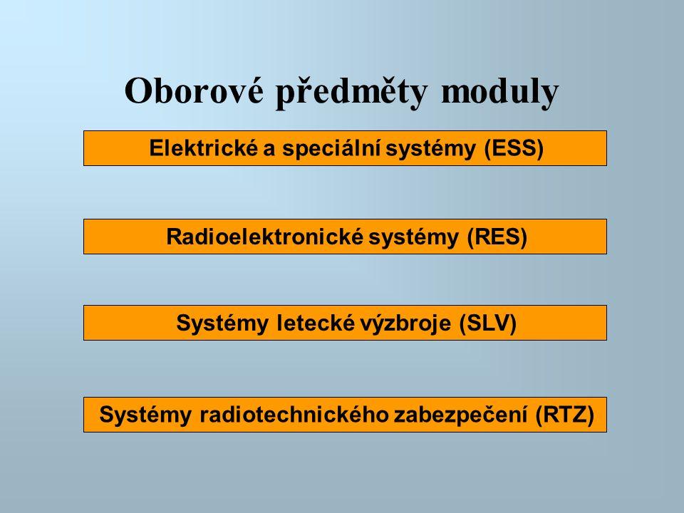 Oborové předměty moduly Elektrické a speciální systémy (ESS) Radioelektronické systémy (RES) Systémy radiotechnického zabezpečení (RTZ) Systémy leteck
