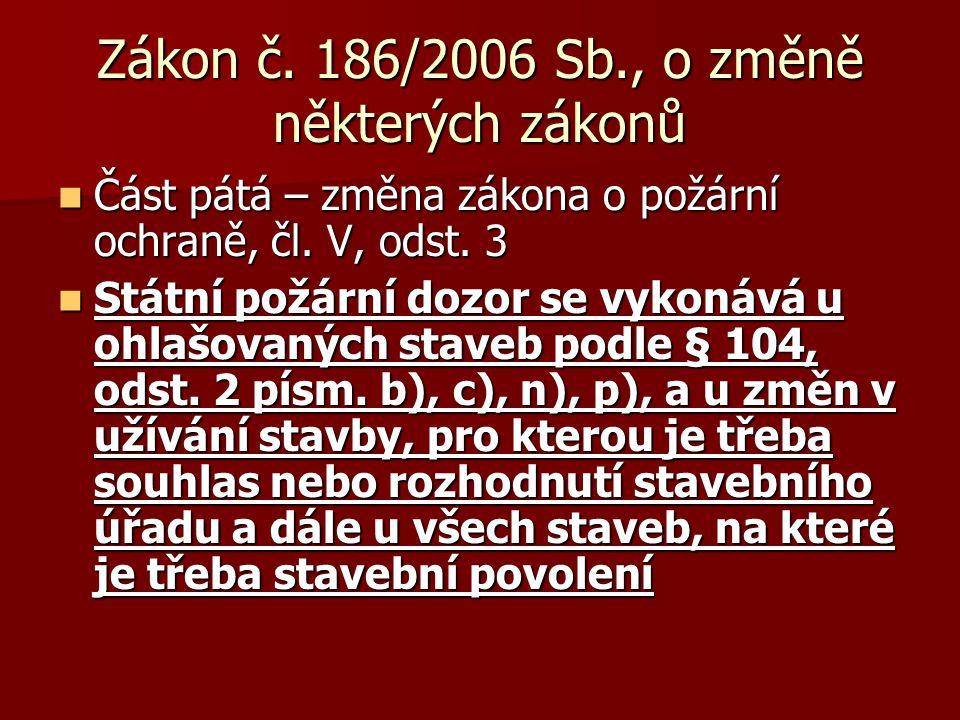 Zákon č.186/2006 Sb., o změně některých zákonů  Část pátá – změna zákona o požární ochraně, čl.