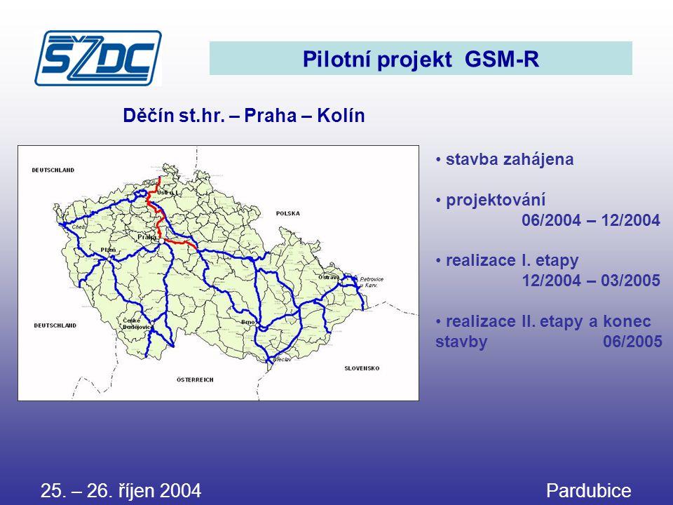 Pilotní projekt GSM-R • stavba zahájena • projektování 06/2004 – 12/2004 • realizace I. etapy 12/2004 – 03/2005 • realizace II. etapy a konec stavby 0