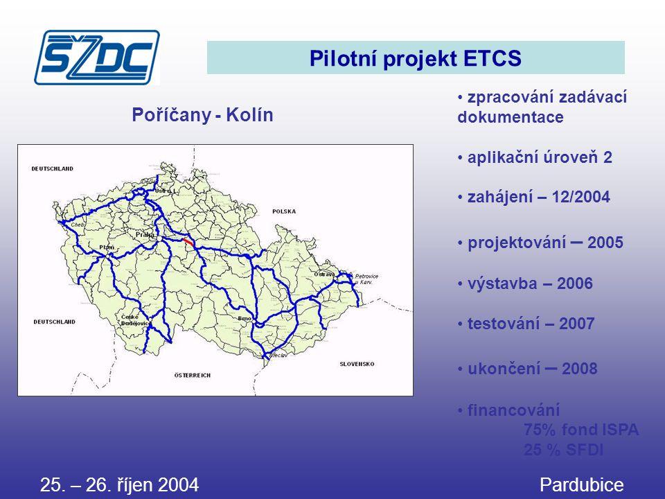Pilotní projekt ETCS • zpracování zadávací dokumentace • aplikační úroveň 2 • zahájení – 12/2004 • projektování – 2005 • výstavba – 2006 • testování –