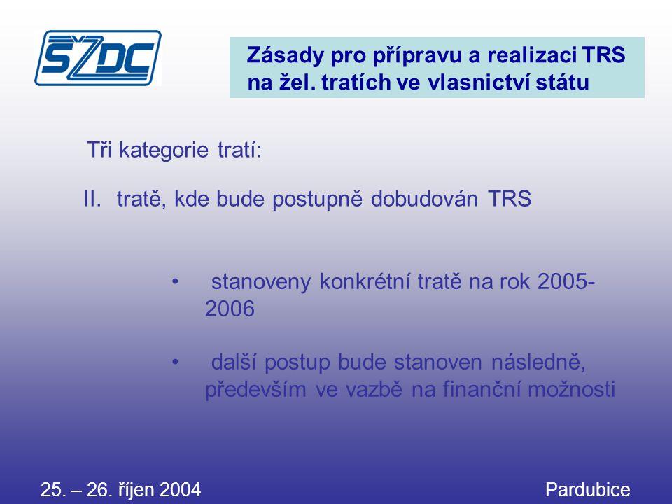 25. – 26. říjen 2004 Pardubice Zásady pro přípravu a realizaci TRS na žel. tratích ve vlasnictví státu • stanoveny konkrétní tratě na rok 2005- 2006 •