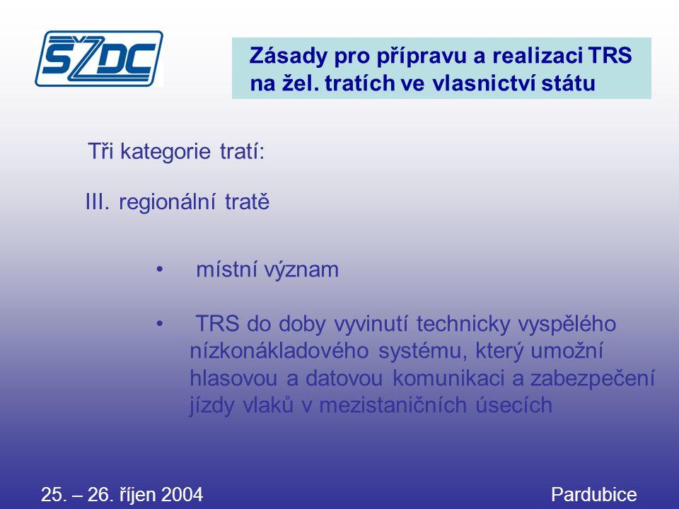 25. – 26. říjen 2004 Pardubice Zásady pro přípravu a realizaci TRS na žel. tratích ve vlasnictví státu • místní význam • TRS do doby vyvinutí technick