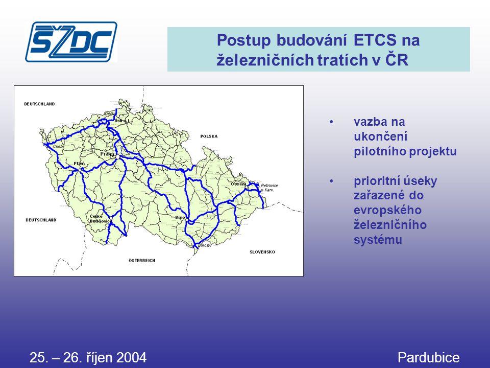 25. – 26. říjen 2004 Pardubice Postup budování ETCS na železničních tratích v ČR •vazba na ukončení pilotního projektu •prioritní úseky zařazené do ev