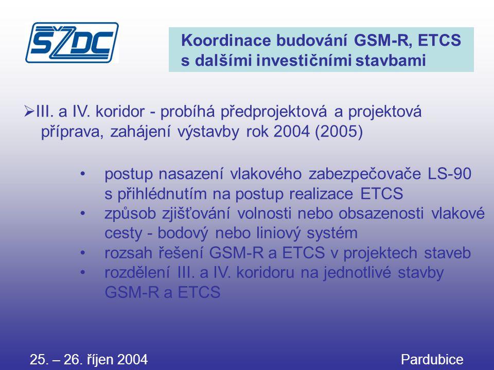 25. – 26. říjen 2004 Pardubice Koordinace budování GSM-R, ETCS s dalšími investičními stavbami •postup nasazení vlakového zabezpečovače LS-90 s přihlé