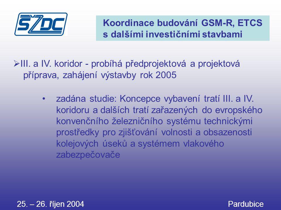 25. – 26. říjen 2004 Pardubice Koordinace budování GSM-R, ETCS s dalšími investičními stavbami •zadána studie: Koncepce vybavení tratí III. a IV. kori