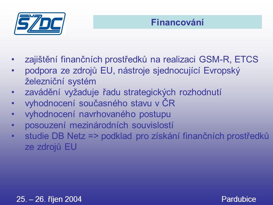 25. – 26. říjen 2004 Pardubice Financování •zajištění finančních prostředků na realizaci GSM-R, ETCS •podpora ze zdrojů EU, nástroje sjednocující Evro