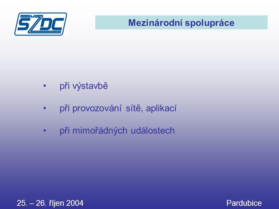 25. – 26. říjen 2004 Pardubice Mezinárodní spolupráce • při výstavbě • při provozování sítě, aplikací • při mimořádných událostech