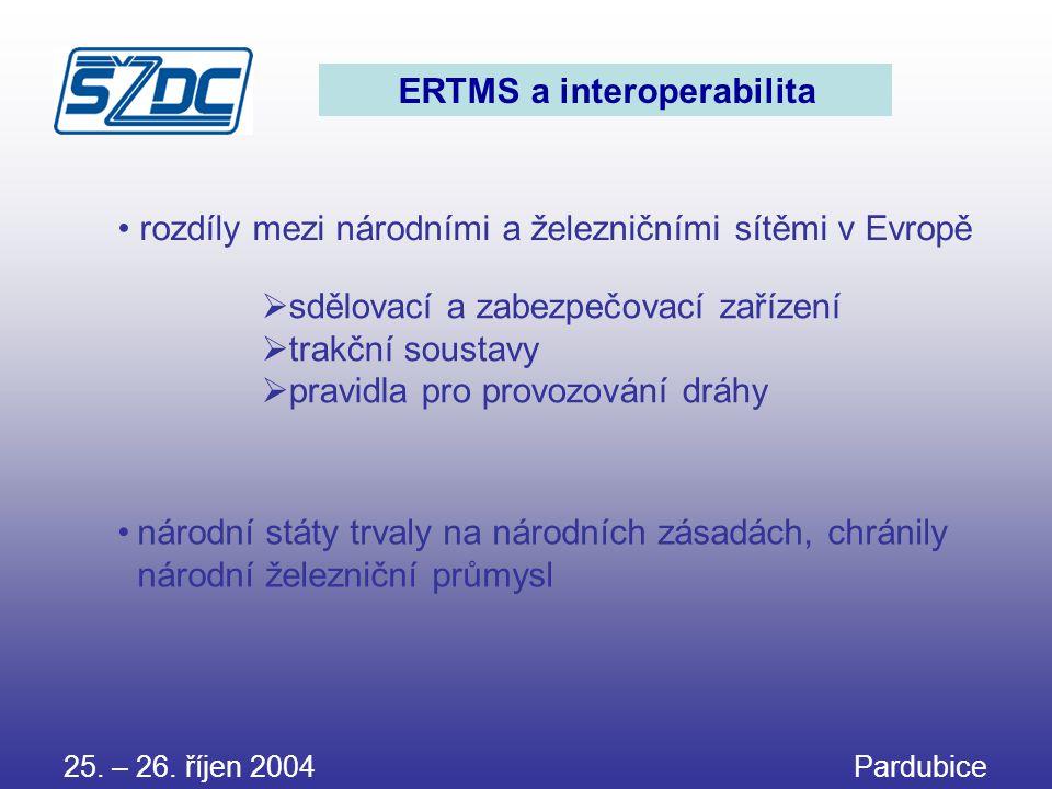 ERTMS a interoperabilita • rozdíly mezi národními a železničními sítěmi v Evropě •národní státy trvaly na národních zásadách, chránily národní železni