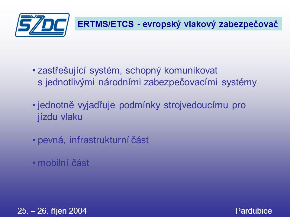 25. – 26. říjen 2004 Pardubice ERTMS/ETCS - evropský vlakový zabezpečovač •zastřešující systém, schopný komunikovat s jednotlivými národními zabezpečo