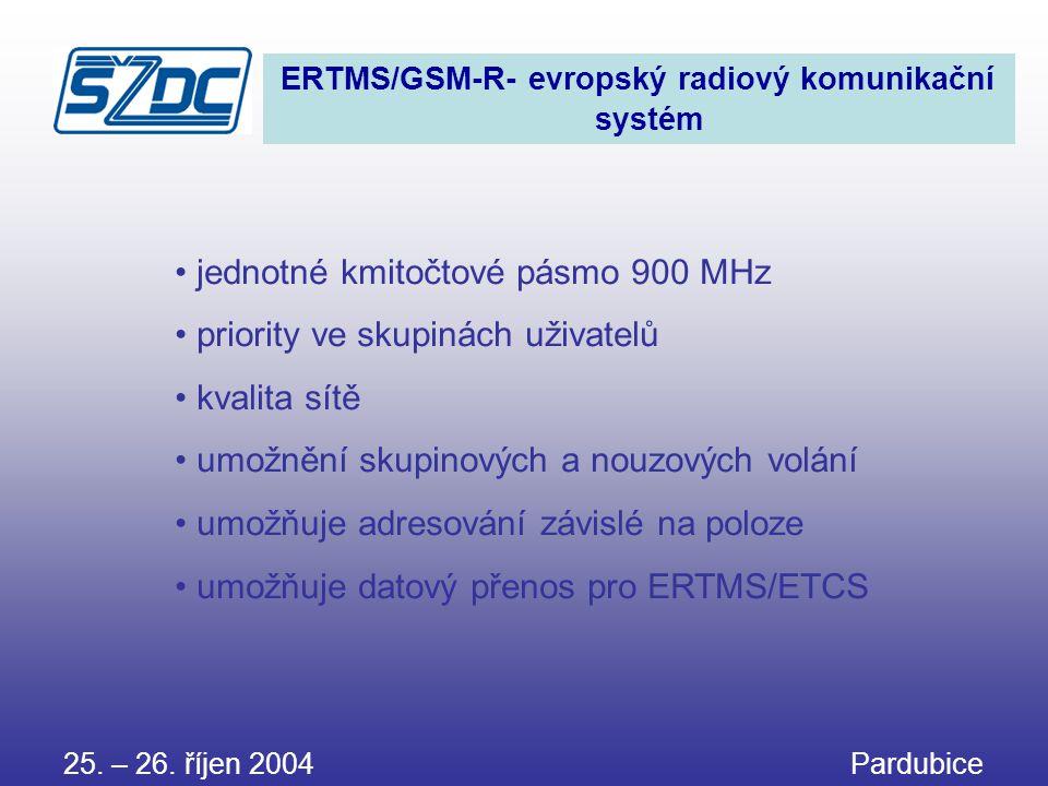 25. – 26. říjen 2004 Pardubice ERTMS/GSM-R- evropský radiový komunikační systém • jednotné kmitočtové pásmo 900 MHz • priority ve skupinách uživatelů