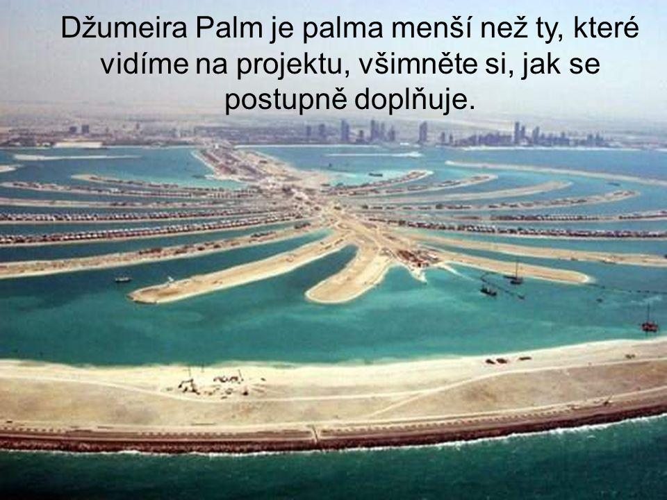 Džumeira Palm je palma menší než ty, které vidíme na projektu, všimněte si, jak se postupně doplňuje.