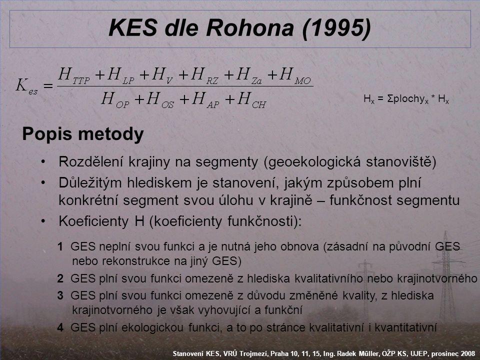 Stanovení KES, VRÚ Trojmezí, Praha 10, 11, 15, Ing. Radek Műller, OŽP KS, UJEP, prosinec 2008 KES dle Rohona (1995) Popis metody •Rozdělení krajiny na