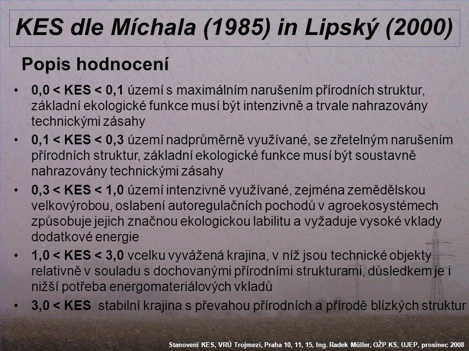 Stanovení KES, VRÚ Trojmezí, Praha 10, 11, 15, Ing. Radek Műller, OŽP KS, UJEP, prosinec 2008 KES dle Míchala (1985) in Lipský (2000) Popis hodnocení