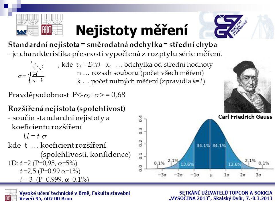 Nejistoty měření Vysoké učení technické v Brně, Fakulta stavební Veveří 95, 602 00 Brno Standardní nejistota = směrodatná odchylka = střední chyba - j
