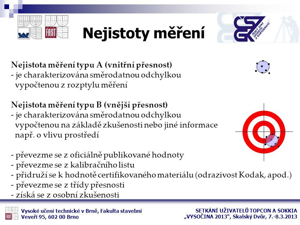 Nejistoty měření Vysoké učení technické v Brně, Fakulta stavební Veveří 95, 602 00 Brno Nejistota měření typu A (vnitřní přesnost) - je charakterizová