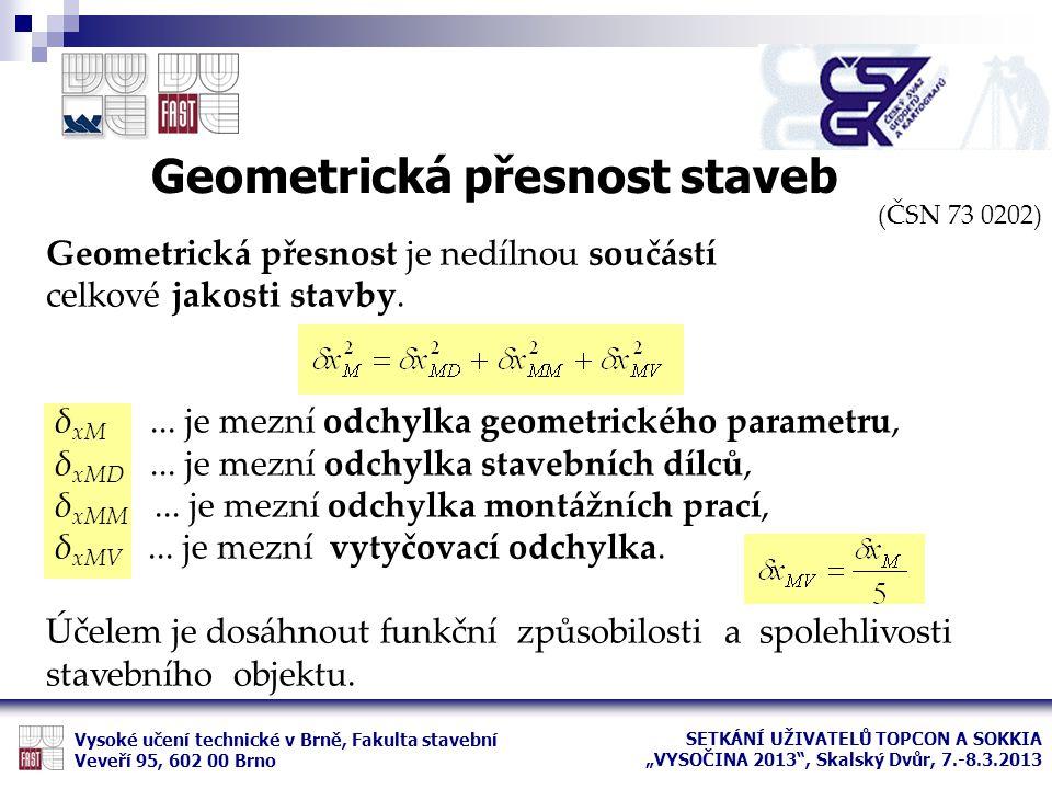 (ČSN 73 0202) Geometrická přesnost je nedílnou součástí celkové jakosti stavby. δ xM... je mezní odchylka geometrického parametru, δ xMD... je mezní o