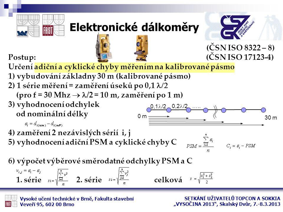 (ČSN ISO 8322 – 8) Postup: (ČSN ISO 17123-4) Určení adiční a cyklické chyby měřením na kalibrované pásmo 1) vybudování základny 30 m (kalibrované pásm