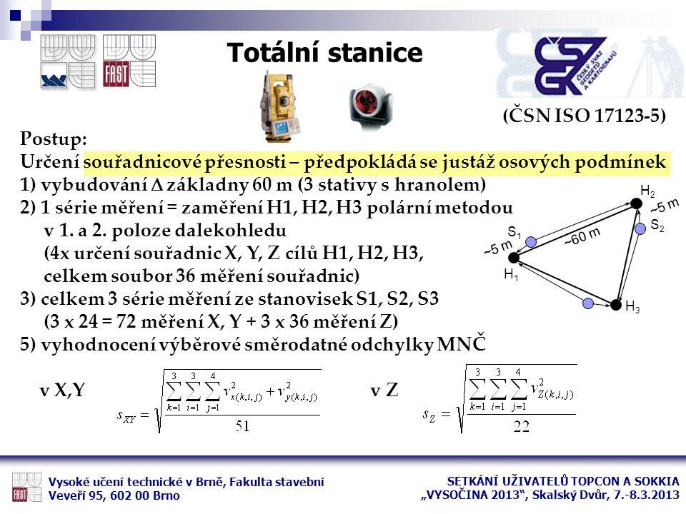 (ČSN ISO 17123-5) Postup: Určení souřadnicové přesnosti – předpokládá se justáž osových podmínek 1) vybudování  základny 60 m (3 stativy s hranolem)
