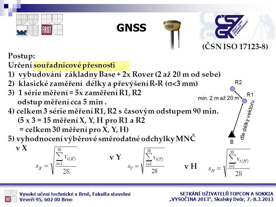 (ČSN ISO 17123-8) Postup: Určení souřadnicové přesnosti 1)vybudování základny Base + 2x Rover (2 až 20 m od sebe) 2)klasické zaměření délky a převýšen