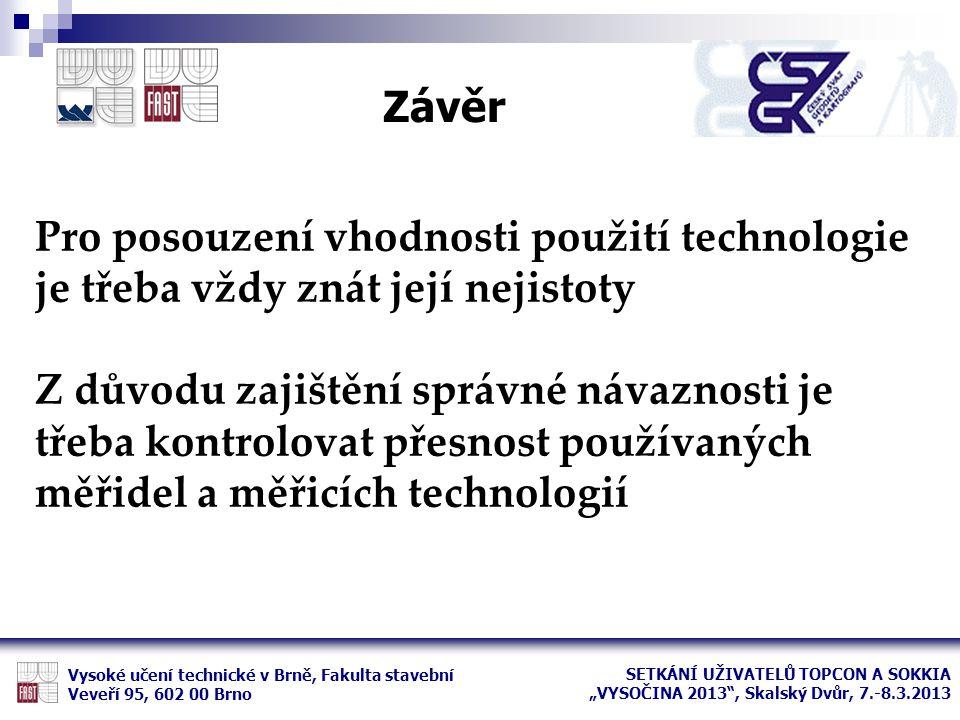 Závěr Vysoké učení technické v Brně, Fakulta stavební Veveří 95, 602 00 Brno Pro posouzení vhodnosti použití technologie je třeba vždy znát její nejis