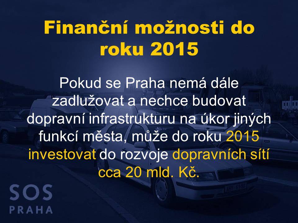 Finanční možnosti do roku 2015 Pokud se Praha nemá dále zadlužovat a nechce budovat dopravní infrastrukturu na úkor jiných funkcí města, může do roku
