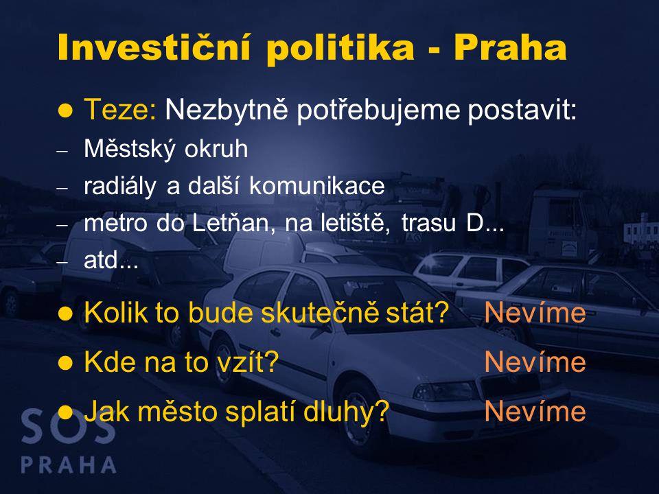 Investiční politika - Praha  Teze: Nezbytně potřebujeme postavit:  Městský okruh  radiály a další komunikace  metro do Letňan, na letiště, trasu D