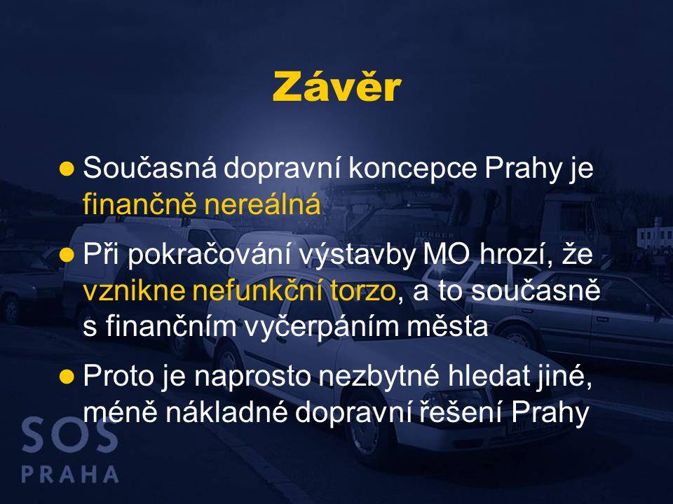 Závěr  Současná dopravní koncepce Prahy je finančně nereálná  Při pokračování výstavby MO hrozí, že vznikne nefunkční torzo, a to současně s finančn