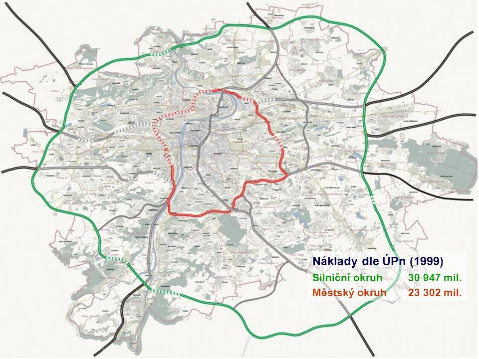 Náklady dle ÚPn (1999) Silniční okruh30 947 mil. Městský okruh23 302 mil. Radiály24 050 mil.