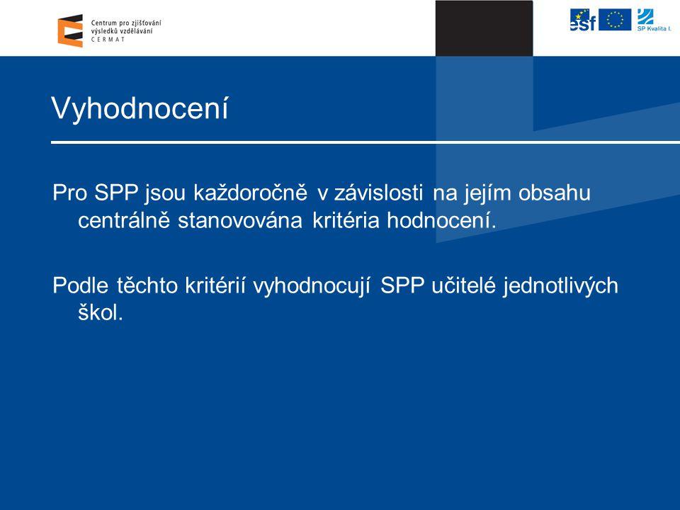 Vyhodnocení Pro SPP jsou každoročně v závislosti na jejím obsahu centrálně stanovována kritéria hodnocení.