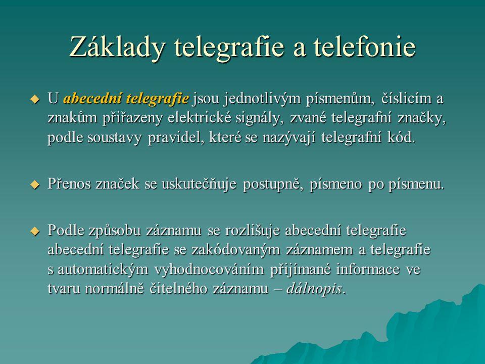 Základy telegrafie a telefonie  U abecední telegrafie jsou jednotlivým písmenům, číslicím a znakům přiřazeny elektrické signály, zvané telegrafní značky, podle soustavy pravidel, které se nazývají telegrafní kód.