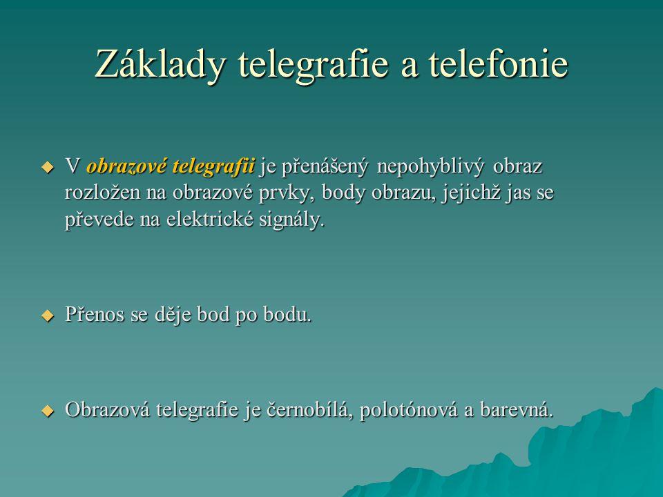 Základy telegrafie a telefonie  V obrazové telegrafii je přenášený nepohyblivý obraz rozložen na obrazové prvky, body obrazu, jejichž jas se převede na elektrické signály.