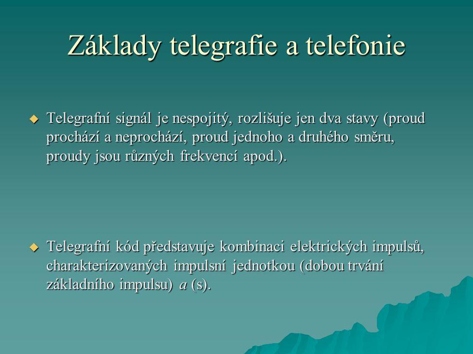 Základy telegrafie a telefonie  Telegrafní signál je nespojitý, rozlišuje jen dva stavy (proud prochází a neprochází, proud jednoho a druhého směru, proudy jsou různých frekvencí apod.).