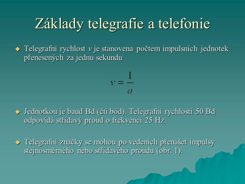 Základy telegrafie a telefonie  Telegrafní rychlost v je stanovena počtem impulsních jednotek přenesených za jednu sekundu  Jednotkou je baud Bd (čti bód).