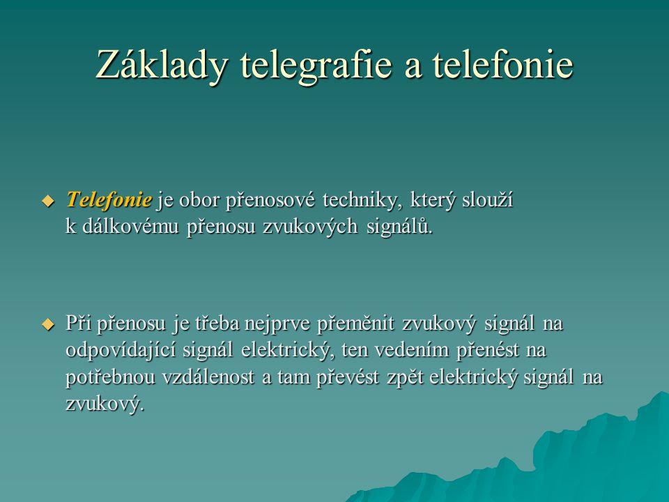 Základy telegrafie a telefonie  Telefonie je obor přenosové techniky, který slouží k dálkovému přenosu zvukových signálů.