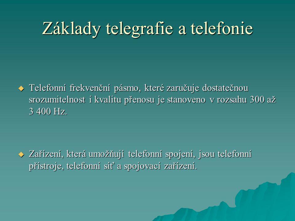 Základy telegrafie a telefonie  Telefonní frekvenční pásmo, které zaručuje dostatečnou srozumitelnost i kvalitu přenosu je stanoveno v rozsahu 300 až 3 400 Hz.